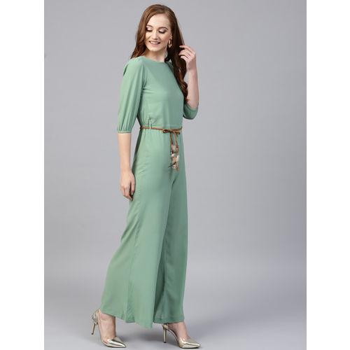 Sassafras Green Polyester Solid Jumpsuit