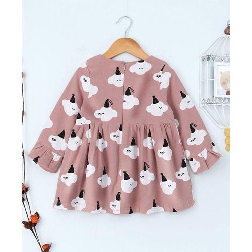 Kookie Kids Cloud Printed Full Sleeves Dress - Pink