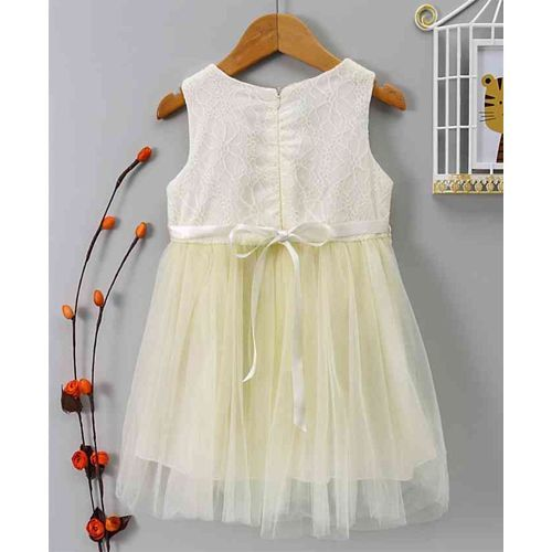 Kookie Kids Embroidered Net Sleeveless Dress - Yellow