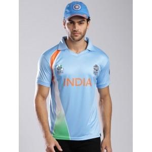 ICC Unisex Light Blue Team India Polo Jersey