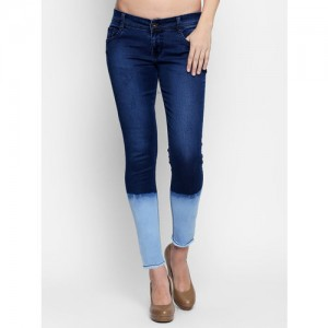 High Star Women Blue Slim Fit Mid-Rise Clean Look Stretchable Jeans