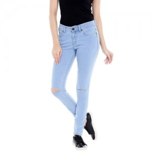 High Star Blue Solid Skinny Fit Mid Rise Jeans