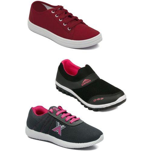 Asian Casual shoes,Running shoes,Walking shoes,Loafers,Sneakers,Traning shoes,Gym shoes. Walking Shoes For Women(Maroon, Black, Grey)