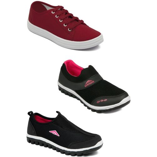 Asian Casual shoes,Running shoes,Walking shoes,Loafers,Sneakers,Traning shoes,Gym shoes. Walking Shoes For Women(Black, Red)