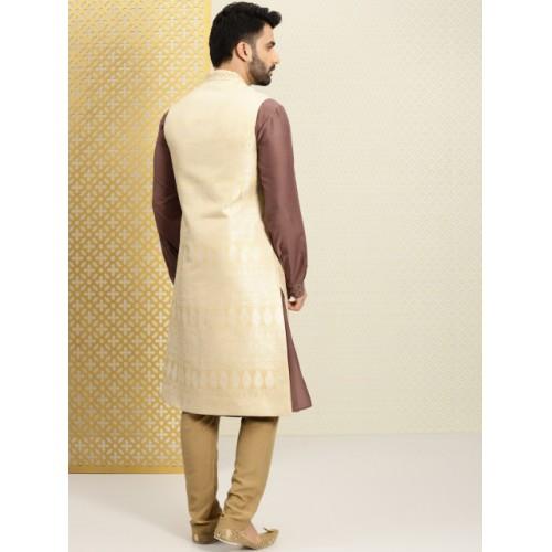 House of Pataud Beige-Gold Embroidered Jacquard Sherwani with Kurta & Pyjama