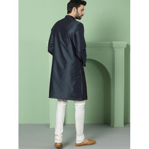 House of Pataudi Men Navy Blue Woven Design Straight Kurta