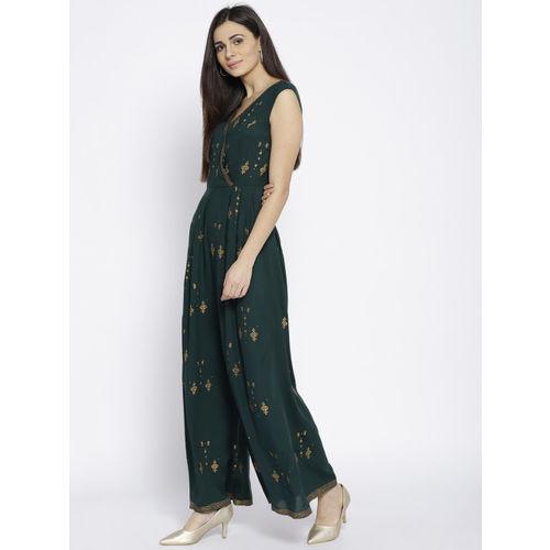 MABISH by Sonal Jain Green & Golden Block Print Basic Jumpsuit