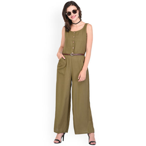 0e1acff854 Buy PURYS Olive Green Solid Basic Jumpsuit online