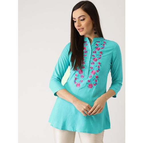 Libas Women Turquoise Blue Embroidered A-Line Kurti