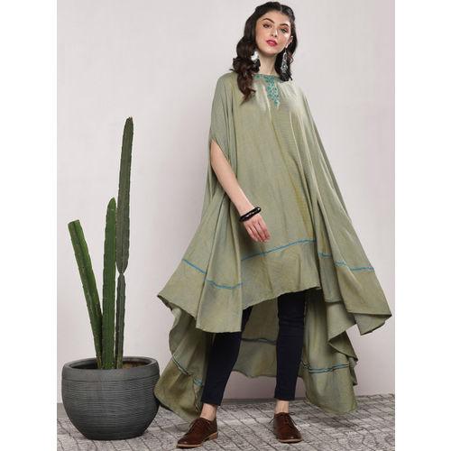 Sangria Olive Green Cotton Striped Kaftan Tunic