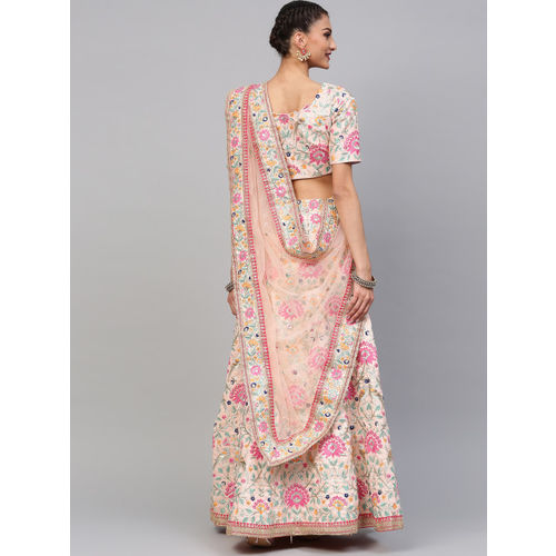 Inddus Peach-Coloured Embroidered Semi-Stitched Lehenga & Unstitched Blouse with Dupatta