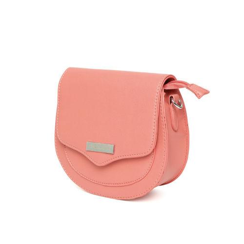 DressBerry Coral Pink Solid Sling Bag