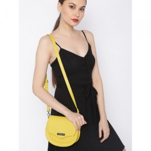 DressBerry Mustard Yellow Solid Sling Bag