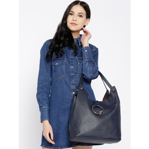 DressBerry Navy Blue Solid Shoulder Bag with Pouch