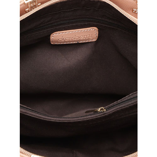 DressBerry Peach-Coloured Solid Handheld Bag