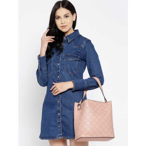 DressBerry Pink Embellished Handheld Bag with Pouch