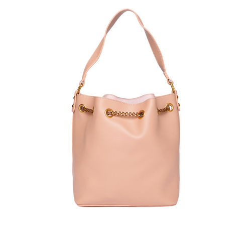 DressBerry Set of 2 Peach-Coloured Solid Handbags