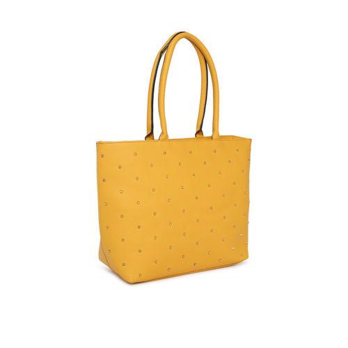 DressBerry Yellow Embellished Shoulder Bag