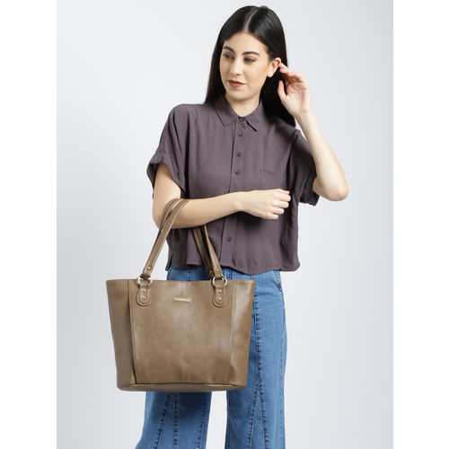 DressBerry Taupe Polyurethane Solid Shoulder Bag