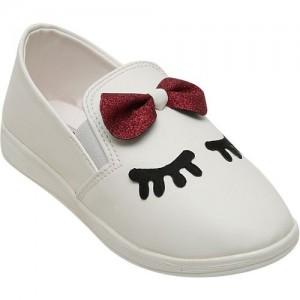 Dchica Girls Slip on Loafers(White)
