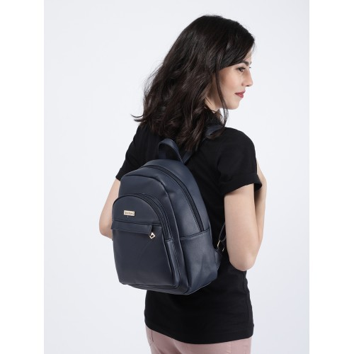 DressBerry Navy Blue Polyurethane Solid Backpack