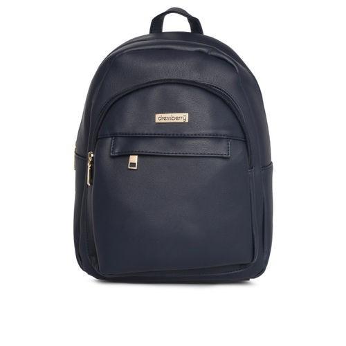 DressBerry Navy Blue Polyurethane Solid Backpack