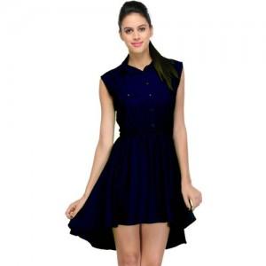 Crease & Clips Navy Blue A-line Dark Blue Dress