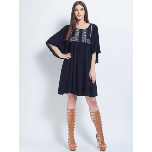 RARE Navy Blue Cotton Solid A-Line Dress