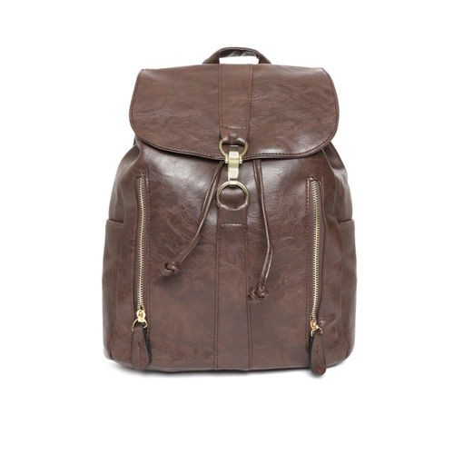 DressBerry Coffee Brown Polyurethane Solid Backpack