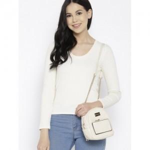 f5a47ab36a36 DressBerry Cream-Coloured Solid Backpack cum Shoulder Bag