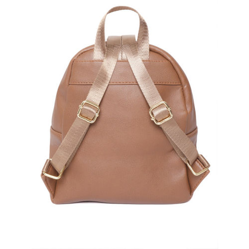 DressBerry Brown Polyurethane Solid Backpack