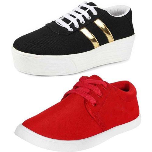 World Wear Footwear Combo-(2)-1044-1062 Sneakers For Women(Multicolor)