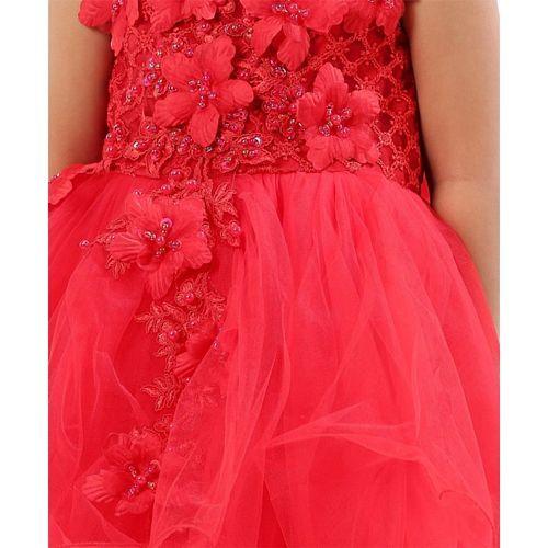 Mark & Mia Party Wear Frock Felt Flower Detail - Red