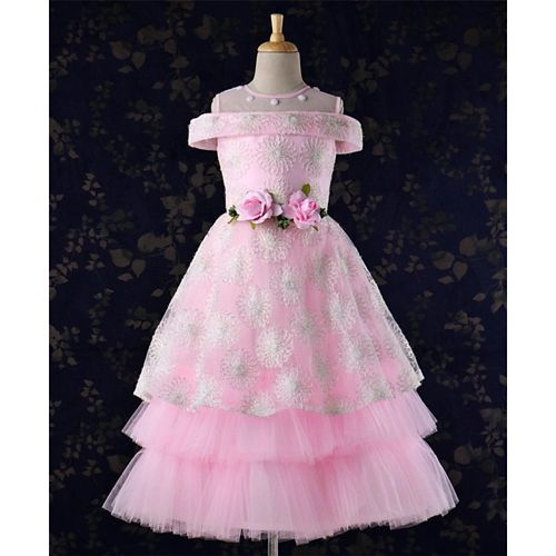 Enfance Flower Applique & Embroidered Cold Shoulder Gown - Pink