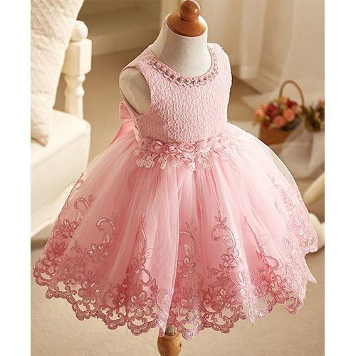 Awabox Pink Flower Embroidered Sleeveless Dress