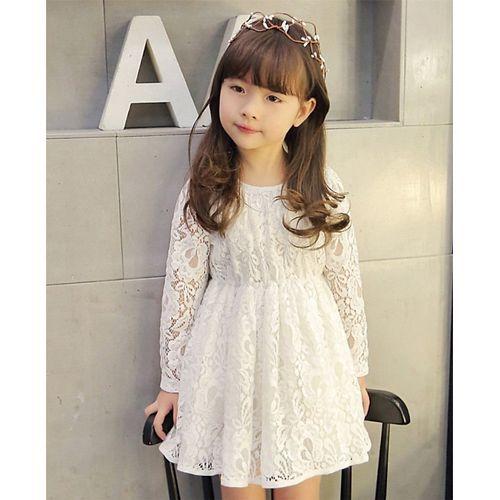 Pre Order - Awabox Flower Design Full Sleeves Dress - White
