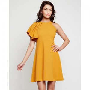 Addyvero Women's Skater Yellow Dress