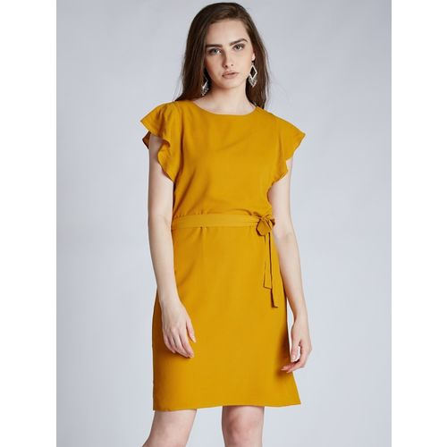 Harpa  Yellow  Polyester Solid A-line Dress