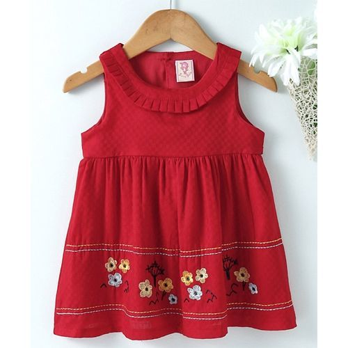 Sunny Baby Round Neck Floral Embroidered Frock - Red