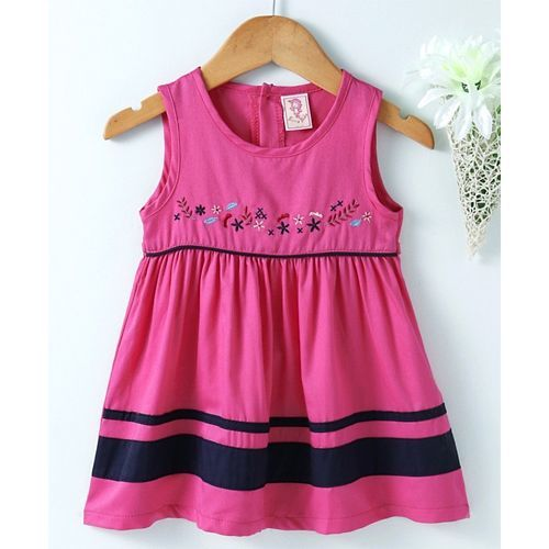 e9061ca6d84e ... Sunny Baby Sleeveless Frock Floral Embroidered - Dark Pink ...