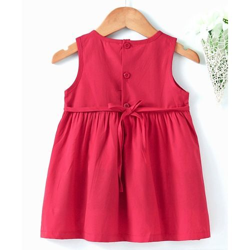 Sunny Baby Sleeveless Embroidered Frock - Red