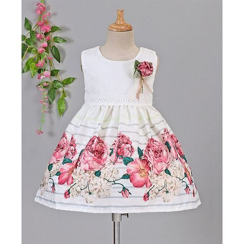 Smile Rabbit Flower Printed Sleeveless Dress - Pink