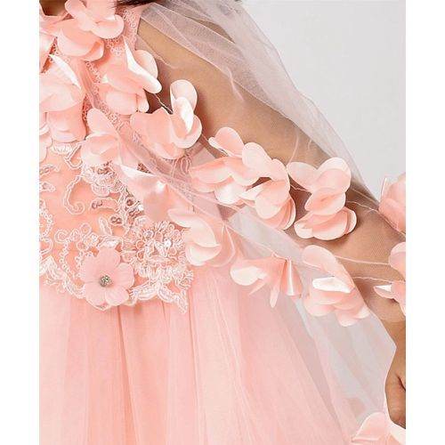 Mark & Mia Frocks Flower Applique & Embroidered Sleeveless Dress - Peach