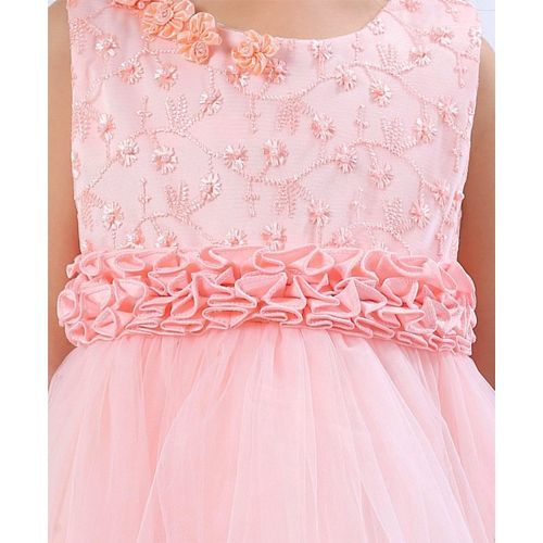 Mark & Mia Frocks Flower Applique & Embroidered Sleeveless Dress - Pink