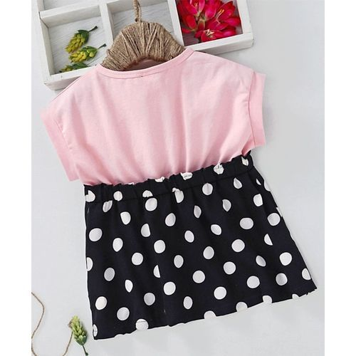 Meng Wa Magyar Sleeves Frock Polka Dot Print - Pink Black