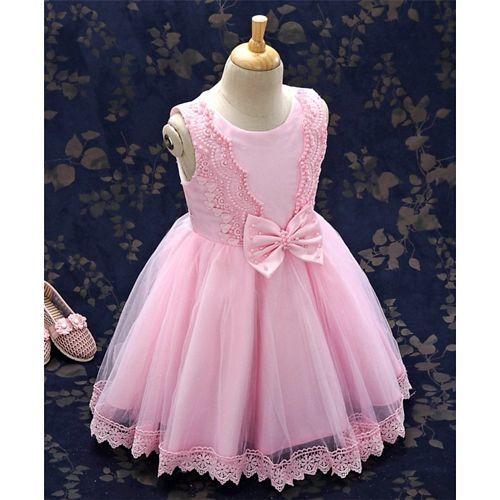 8905cc80cb8 Buy Kookie Kids Party Wear Sleeveless Lace & Bead Detailing - Light ...