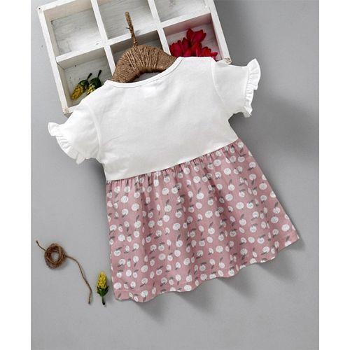 Meng Wa Half Sleeves Fruit Print Frock - White Pink