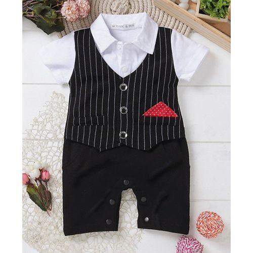 Mark & Mia  Black Half Sleeves Striped Party Romper With Bow