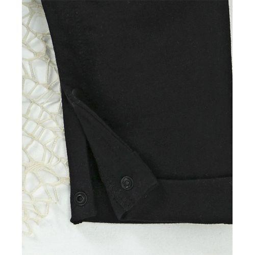 Mark & Mia Mock Jacket Houndstooth Print Full Sleeves Romper - Black & White