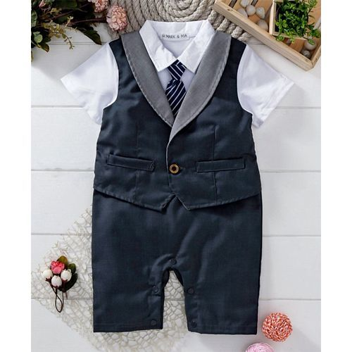 Mark & Mia Navy Blue Half Sleeves Party Suit Romper With Tie